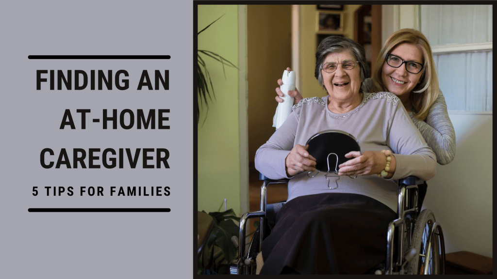 At home caregiver doing an elderly woman's hair and makeup at home.