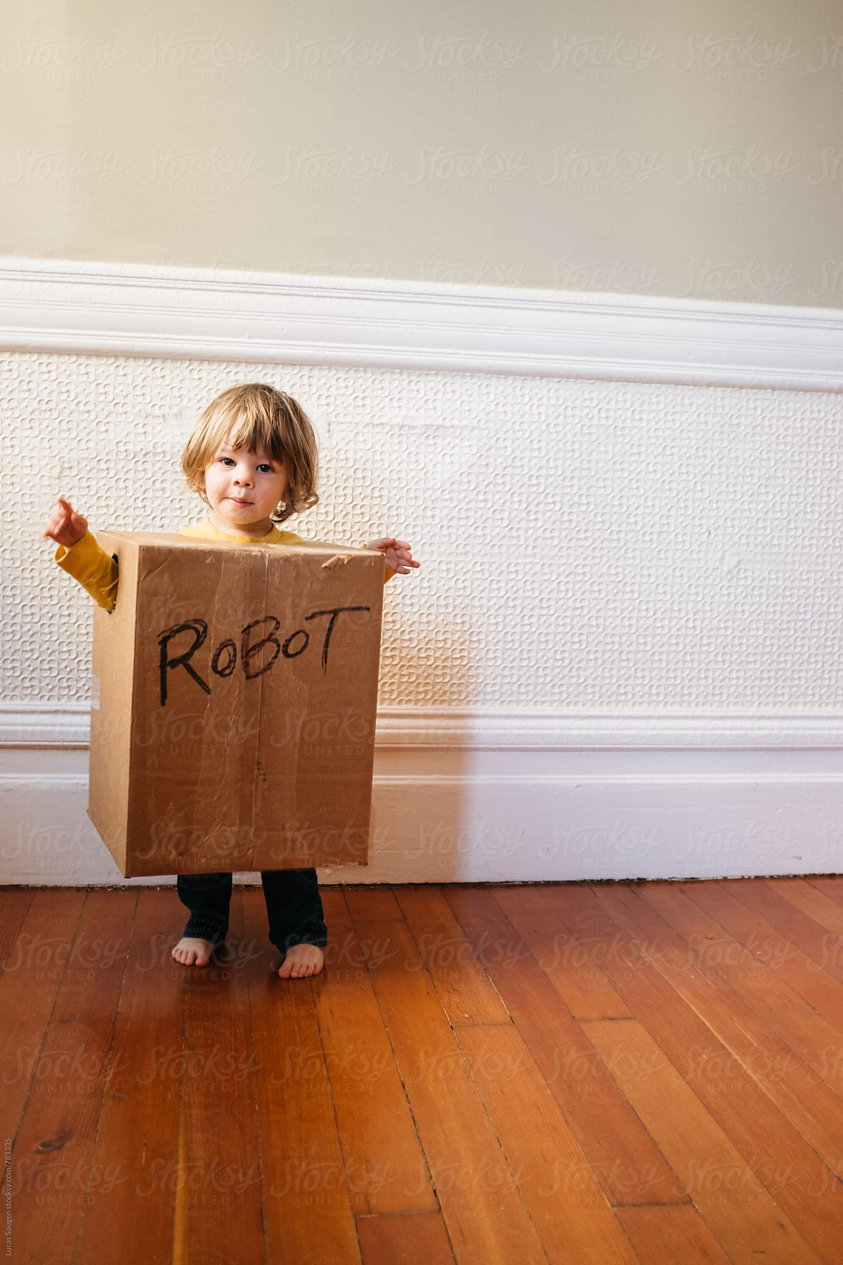 Summer Activities To Do With The Grandkids - A Child In A Cardboard Box Robot Costume