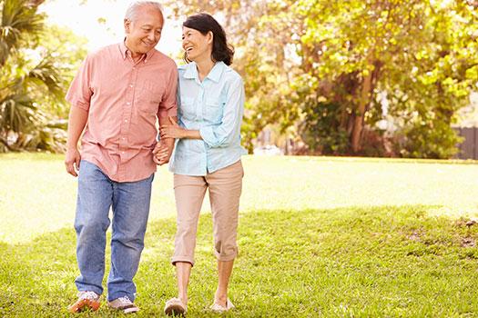 Stroke Warning Signs - An Older Couple Walking Together