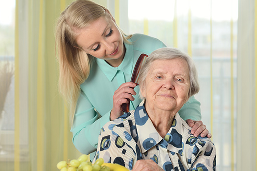 National Family Caregivers Month - A Woman Burshing An Elderly Woman's Hair