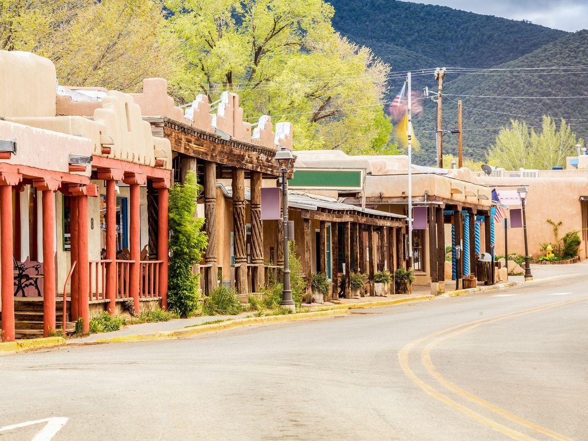 Senior Travel Destinations - Main Street In Taos NM