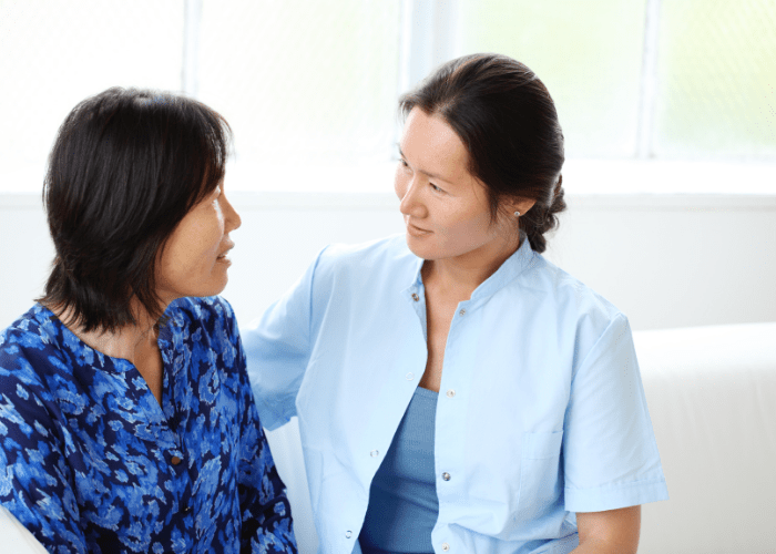 woman-discussing-becoming-a-certified-nursing-assistant-with-her-mother