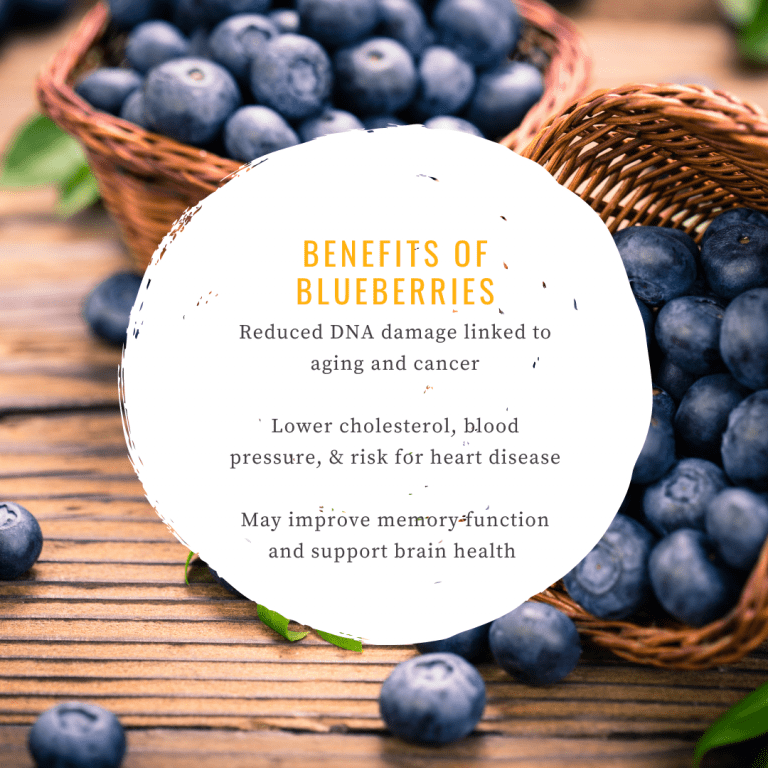 Infographic about the benefits of blueberries as one of the best foods for seniors