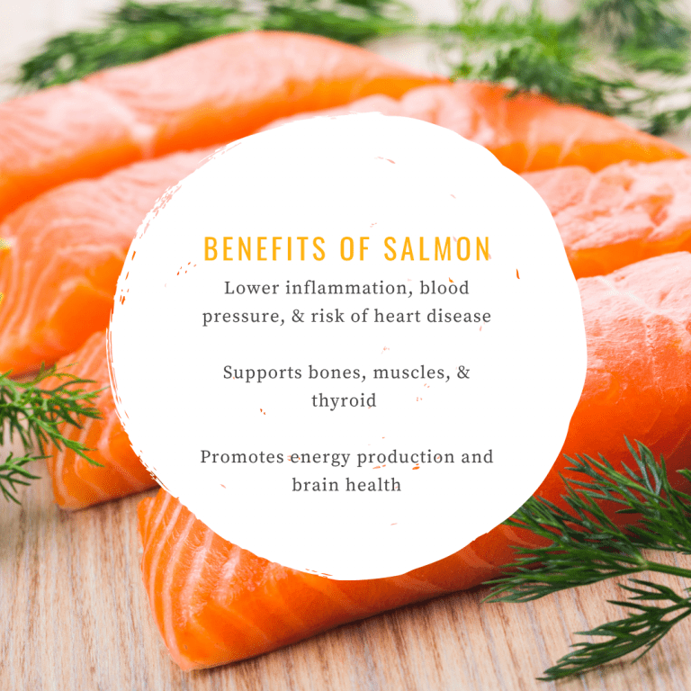 Infographic about the benefits of salmon as one of the best foods for seniors